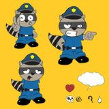 Raccoon police uniform expression set6 Royalty Free Stock Image