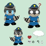 Raccoon police uniform expression set7 Royalty Free Stock Photography