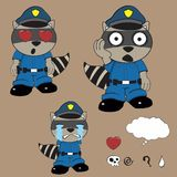 Raccoon police uniform expression set8 Stock Photo