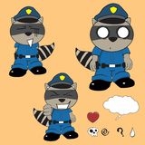 Raccoon police uniform expression set0 Royalty Free Stock Images