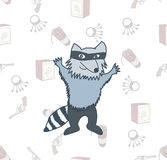 Raccoon robber in a mask on the seamless background Stock Image