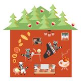 Raccoon`s house in the forest. Fairy vector illustration. Stock Images