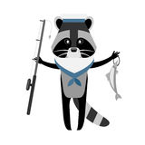 Raccoon sailor fishing Stock Image