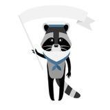 Raccoon sailor with flag Stock Photography
