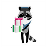 Raccoon sailor with gifts Royalty Free Stock Images
