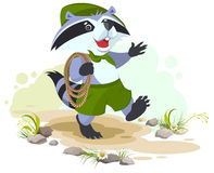 Raccoon scout carries rope. Animal scout with rope Royalty Free Stock Images