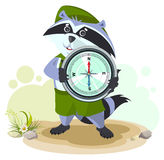 Raccoon scout holding compass Stock Photography