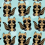 Raccoon Seamless pattern with funny cute animal on a blue backgr Royalty Free Stock Photo