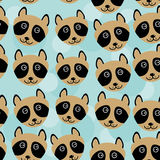 Raccoon Seamless pattern with funny cute animal face on a blue b Stock Photo