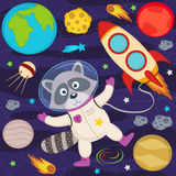 Raccoon in space. Vector illustration, eps royalty free illustration