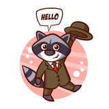 Raccoon in a suit and hat Sticker Stock Photos