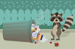 Raccoon and Trashcan. Cute raccoon feeling guilty for knocking over a trashcan. Eps10 Stock Photos