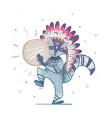Raccoon tribal shaman with a tambourine dance. Royalty Free Stock Images