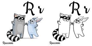 Raccoon. Vector alphabet letter R, coloring page. Vector alphabet letter R for children education with funny cartoon raccoon and bunny. Isolated. Learn to read Stock Image