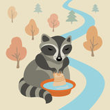 Raccoon. Vector illustration with raccoon washing clothes vector illustration