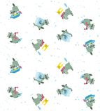 Raccoon washes a kidswear pattern. Seamless pattern of raccoons washes a kidswear vector cartoons in flat style Stock Photos