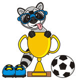 Raccoon wearing glasses and with his tongue hanging out sitting in the football cup Royalty Free Stock Images