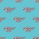 Raccoons in a cartoon style. Seamless pattern. For your design Royalty Free Stock Photos