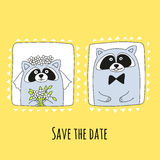Raccoons groom and bride in hand-drawn style. The inscription save the date. Vector illustration Stock Image