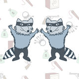 Raccoons robbers in a mask on the seamless background Royalty Free Stock Image