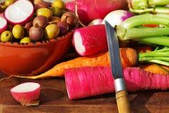 Raccord en caoutchouc, navet et légumes. Images stock