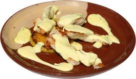 Raccordi arrostiti col barbecue dei petti di pollo Immagini Stock Libere da Diritti