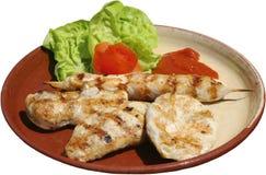 Raccordi arrostiti del pollo sul barbecue Immagine Stock Libera da Diritti