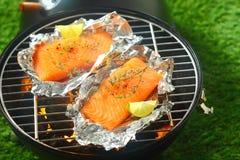 Raccordi di color salmone che grigliano su un fuoco aperto Immagini Stock Libere da Diritti
