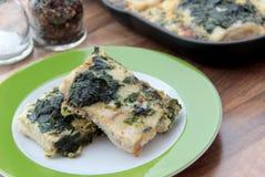 Raccordo del merluzzo al forno con spinaci e le uova battute Fotografia Stock Libera da Diritti
