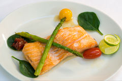 Raccordo di color salmone con le verdure Immagini Stock Libere da Diritti
