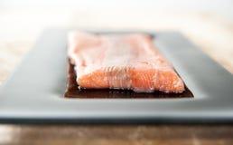Raccordo di color salmone norvegese fresco sul piatto del vetro scuro fotografie stock