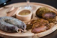 Raccordo e salsiccia della carne Fotografia Stock