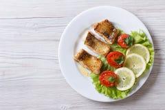 Raccordo fritto pertica con le verdure vista superiore orizzontale fotografia stock libera da diritti