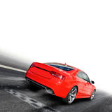 Race. Red sports car on a colorful background Royalty Free Stock Photo