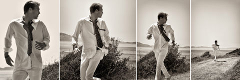 The Race. Sequence of a fashionable guy running Royalty Free Stock Photo
