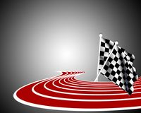 Race. Image of racing road with flags Royalty Free Stock Image
