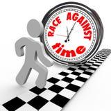 Race Against Time Clock vs Runner Finish Line royalty free illustration