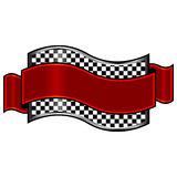 Race badge. S with red ribbon over white background Stock Photography