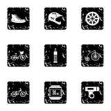 Race bike icons set, grunge style Stock Photo