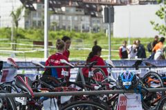 Race bikes parked in the Championship of Spain Triathlon. PONTEVEDRA, SPAIN - MAY 22, 2016: Race bikes parked in the Championship of Spain Triathlon Relay held royalty free stock photo
