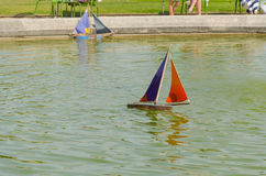 Race of boat in the fountain Stock Photo