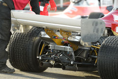 Race car. Rear wheels and engine assembly of a powerful race car Royalty Free Stock Photography