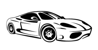 Race car. Silhouette of sport car for racing sports Stock Photography
