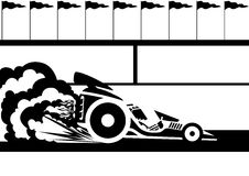 Race car. A racing car at the stadium. Black and white illustration Royalty Free Stock Photos