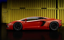 Race car. 3d render of luxury sport car Royalty Free Stock Images