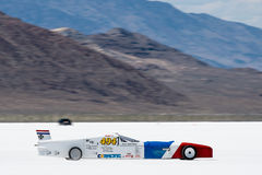 Race car at Bonneville Speedway. A high performance Lakester leaves the start line on his way to a record attempt at Bonneville Speedway, during Speedweek 2013 Royalty Free Stock Image