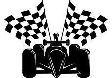 Race Car with Checkered Flags Stock Photos