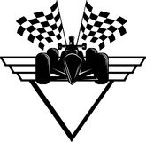 Race Car with Checkered Flags & Shield Stock Image
