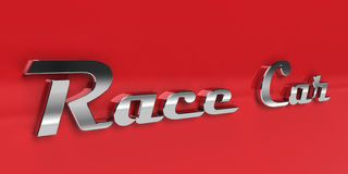 Race car chrome typography. Closeup of chrome typography race car on a red car. an old rusty version of this Royalty Free Stock Photos