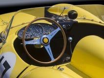 Race car dasboard. Race car dashboard and cockpit in vintage Italian race automobile stock photography